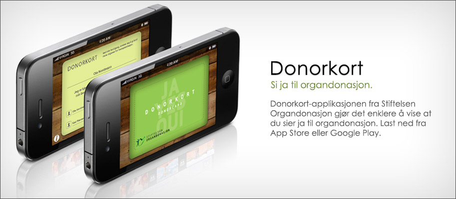 Donorkort for iPhone, iPod Touch og Android